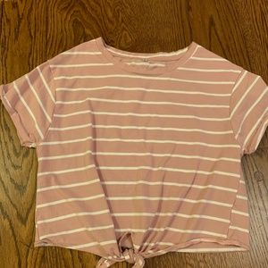 Shein Tie Front Striped Rose Colored Tee